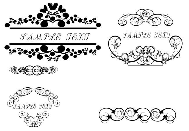 Mẫu hoa văn đẹp, free vector title floral