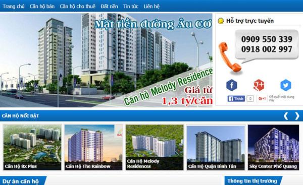 Giao diện ngành bất động sản, phù hợp bán căn hộ