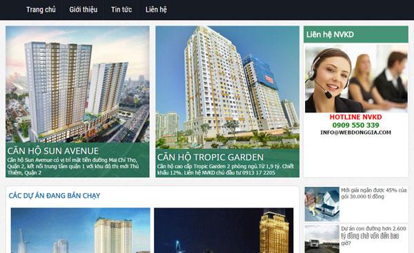 Giao diện bất động sản - webdonggia.com