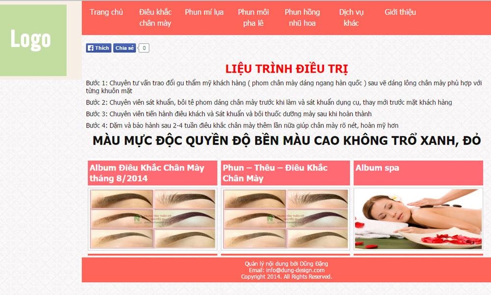 Giao diện ngành spa, thẩm mỹ viện - webdonggia.com