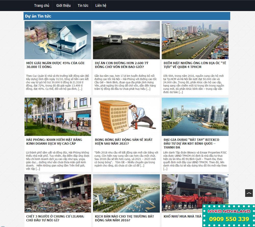 Giao diện bất động sản, thiết kế hiện đại, phù hợp bán căn hộ