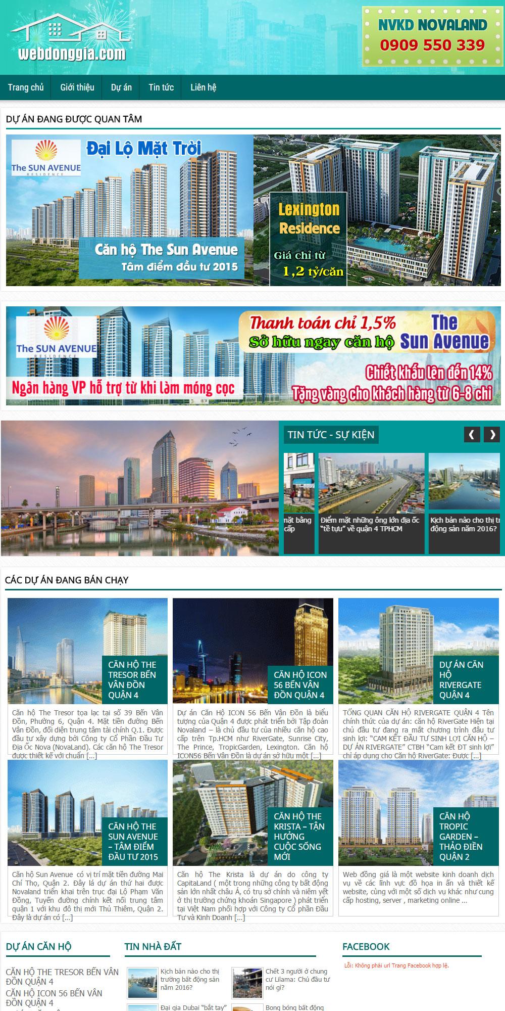 Giao diện bất động sản màu xanh lục
