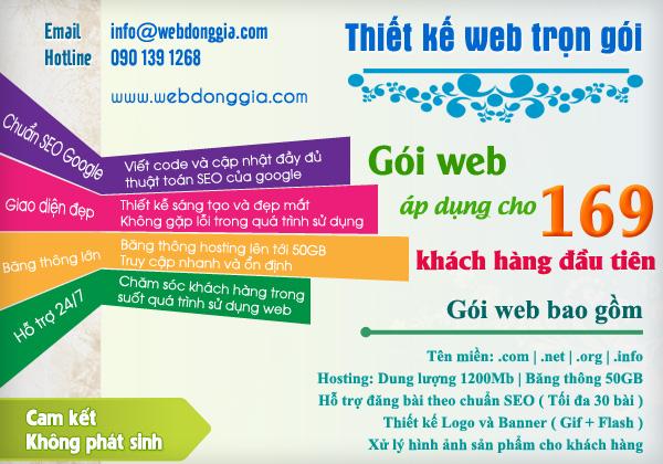 Thiết kế web trọn gói - Email: robedung@gmail.com